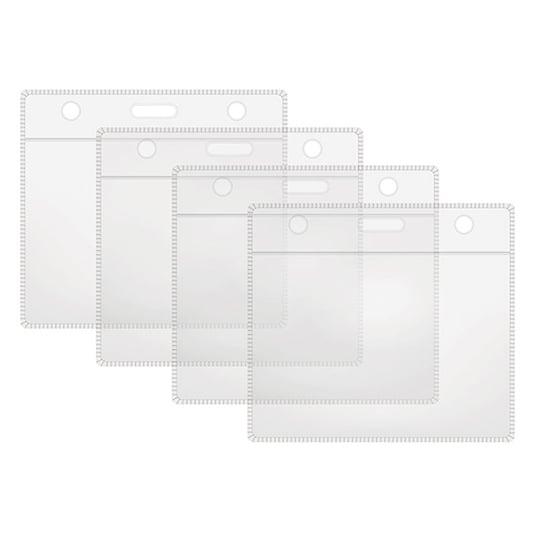 4 clear horizontal plastic badge holders