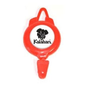Red plastic badge reel with white/ black imprint and lanyard and badge attachments