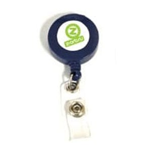 Navy blue plastic badge reel with white/ green logo imprint with metal clip on back and badge attachments