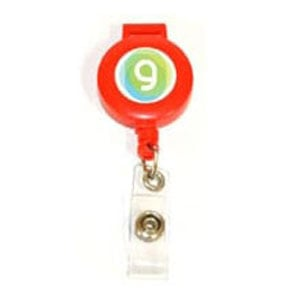 Red plastic badge reel with full color imprint and lanyard and badge attachments