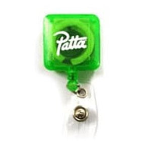 Square, green plastic badge reel with white logo imprint with metal clip on back and badge attachment
