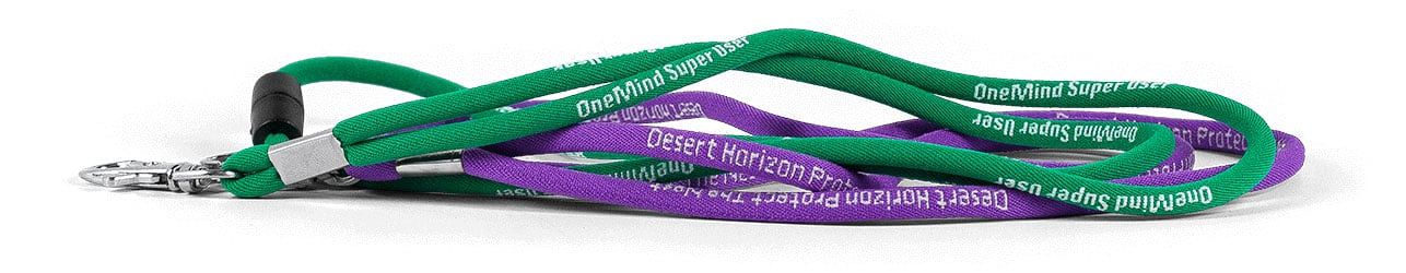 Purple and green lanyards with white text and carabiner attachments