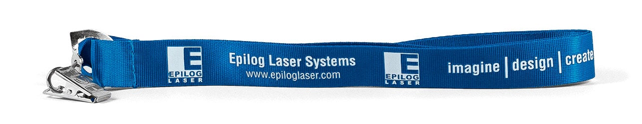 Blue nylon lanyard and white logo/ text, and bulldog clip attachment: Epilog Laser Systems