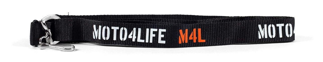Black polyester lanyard with white/ orange text: Moto4life M4L