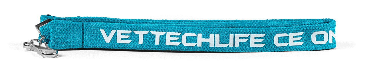 Teal tubular lanyard with white text and swivel hook attachment: Vet tech life