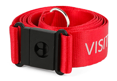 Red nylon lanyard with white text and black plastic safety break