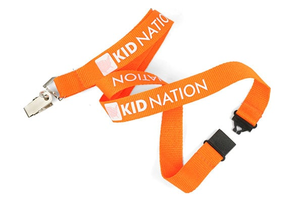 Orange polyester lanyard with white text and bulldog clip attachment and black plastic safety break