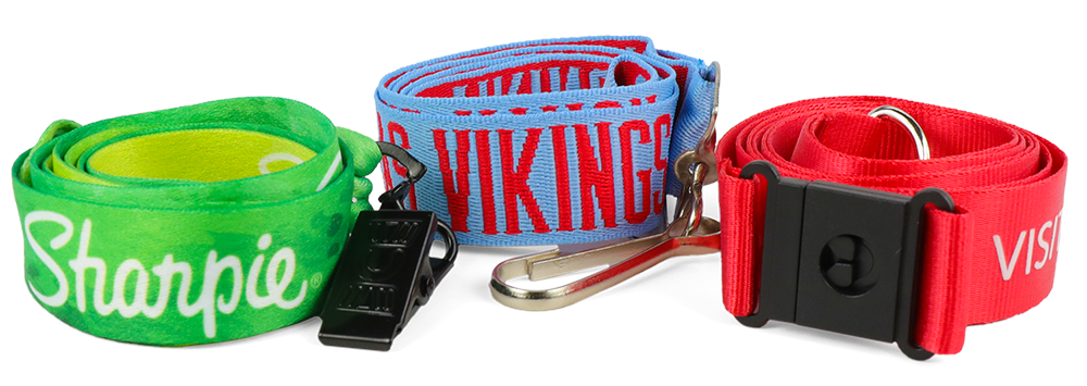 3 different lanyard styles, 1 green with Sharpie logo and black bulldog clip, 2 blue and red with swivel attachment, and 3 red with black safety break